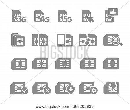Set Of Sim Card Flat Gray Icons. 3g, 4g, 5g - Network, Mobile Internet, Emv Chip, Cards Slot, Phone