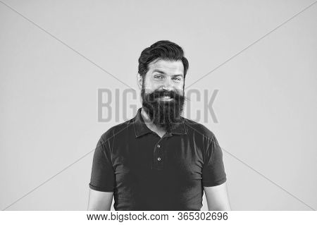 Mental Health. Happy Hipster. Hipster Smile Yellow Background. Brutal Hipster With Thick Beard Hair.