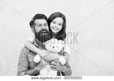 Endless Friendship. Little Child Hug Bearded Man. Daughter And Father Enjoy Bonds Of Friendship. Hap