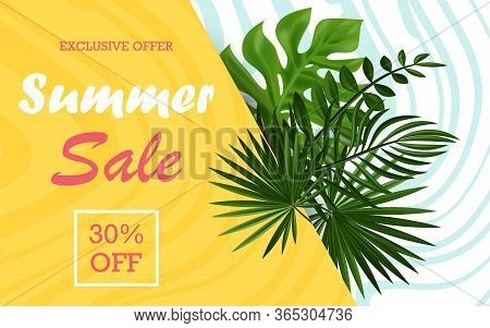 Poster Discount Promotion Template Advertising. Summer Card Concept With Striped Background. Summer