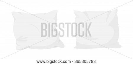 White Pillow Flat Cartoon Set. Home Interior Textile. Pillows For Sofa, Sleep Mockup Template. Two I