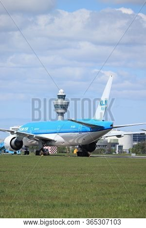 Amsterdam Airport Schiphol, The Netherlands -  May 5th 2020: Airport In Lockdown. Klm Boeing 777 Par