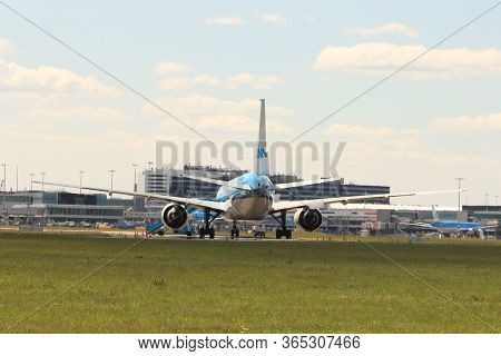 Amsterdam Airport Schiphol, The Netherlands -  May 5th 2020: Airport In Corona Lockdown. Limited Air