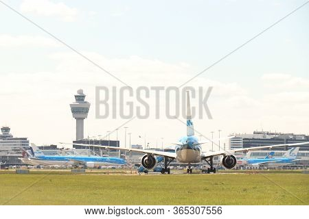 Amsterdam Airport Schiphol, The Netherlands -  May 5th 2020: Airport In Lockdown. Limited Air Traffi
