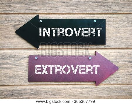 Arrow sign for introvert and extrovert