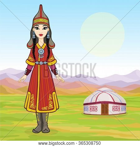 Asian Beauty. Animation Portrait Of A Beautiful Girl In Ancient National Cap And Jewelry. Central As