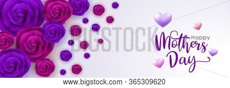 Mother Day, Greeting For Mother Day, Mother's Day Vector Banner, Red Rose, Purple Rose And Heart On