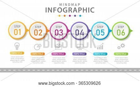 Infographic Template For Business. 6 Steps Modern Timeline Diagram With Road Journey Concept. Presen