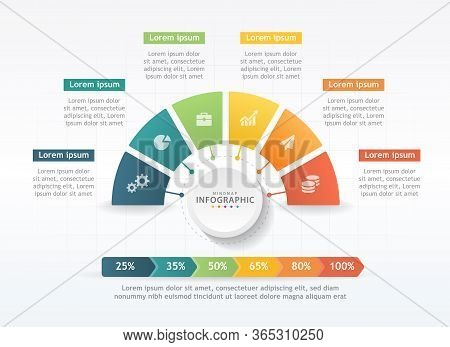 Infographic Template For Business. 6 Steps Modern Mindmap Diagram With Graphs, Presentation Vector I