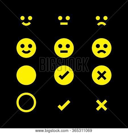 Yellow Glowing Icon Emotions Face, Emotional Symbol And Approval Check Sign Button, Fluorescent Emot