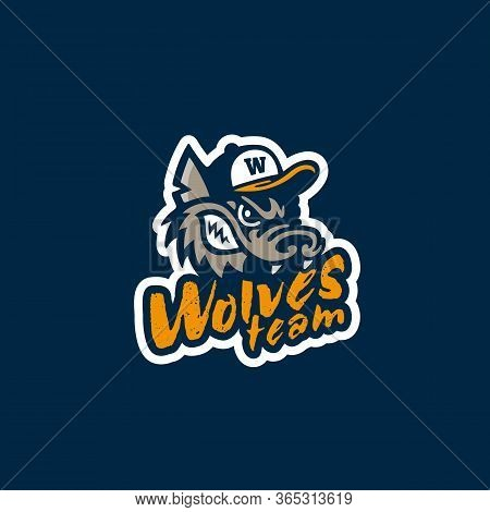 Wolves Team Mascot Logo With Wolf In Baseball Hat. Vector Illustration.