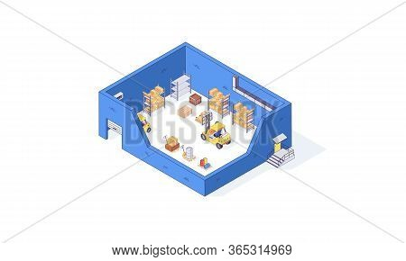 Isometric Warehouse Storehouse Box Package Pallet And Forklift Factory. Delivery Goods Vector Illust