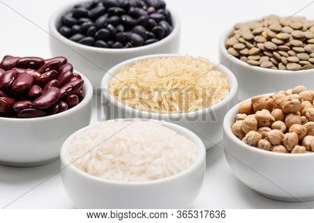 Bowls Of Mixed Legumes And Grains.