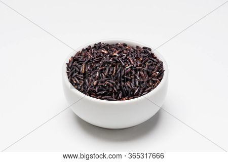 Black Rice Bowl On White Background.