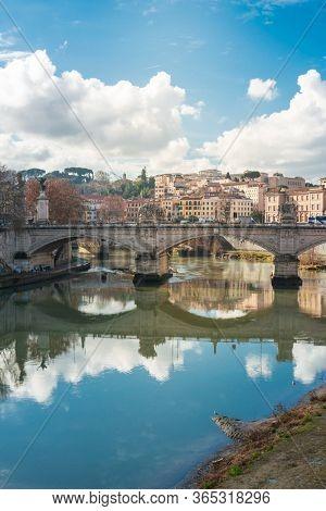 ROME, ITALY - January 17, 2019: Aelian Bridge or Pons Aelius ( Roman bridge ) in Rome, ITALY