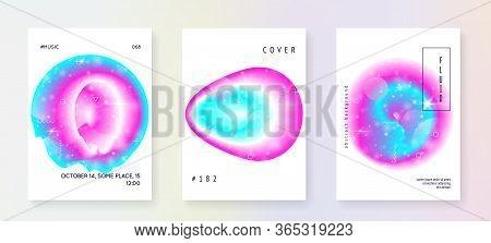 Astronomy Flyer. 3d Magic Dreamer Unicorn Sparkles. Holographic Gradients. Neon Science Banner Set W