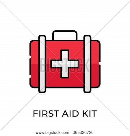 First Aid Kit. First Aid Kit icon. First Aid Kit vector. First Aid Kit icon vector. First Aid Kit illustration template. Medical First Aid Kit icon vector. First Aid Kit vector icon flat design for web icons, logo, sign, symbol, app, UI.
