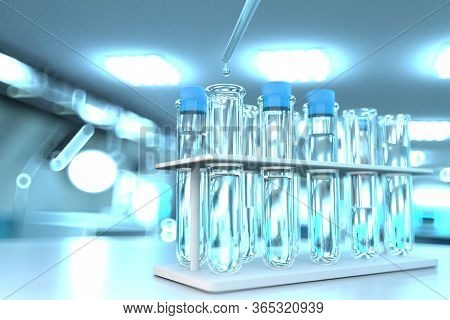 Potable Water Quality Test For Viruses (like Covid-2019) Concept - Laboratory Proofs In Modern Micro
