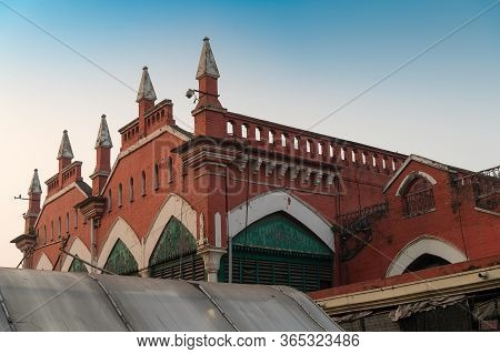 Kolkata, West Bengal, India - 29th December 2019 : Red Brick Wall Of Sir Stuart Hogg Market Or Hogg
