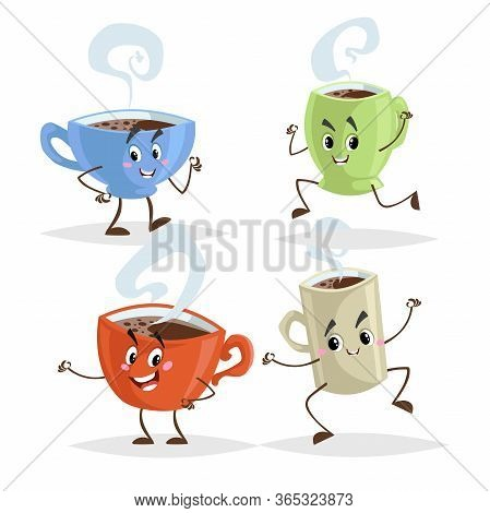 Cute Cartoon Coffee Mug And Cups Characters Set. Coffee Time Concepts. Jumping, Running, Giving Thum