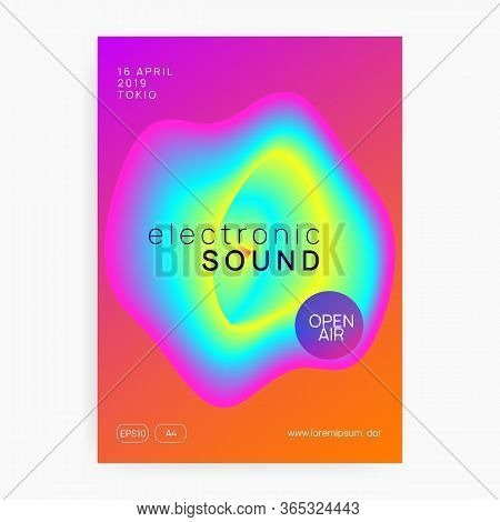 Music Fest. Fluid Holographic Gradient Shape And Line. Electronic Sound. Night Dance Lifestyle Holid