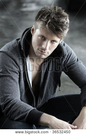 Portrait of a young handsome male model