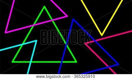 Colorful Light Beam With Triangle Line Shape For Background, Night Light Effect On Black Color, Geom