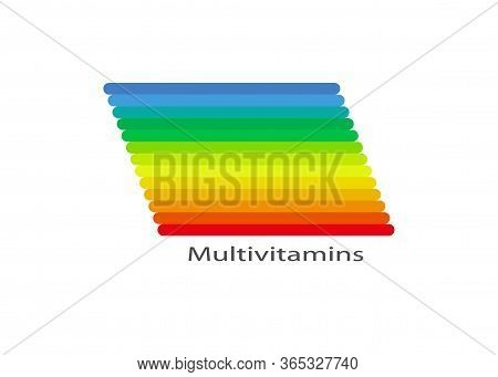 Multivitamin Label Inspiration, Colorful Banner Icon Vitamins And Text, Vector Isolated Or White Bac