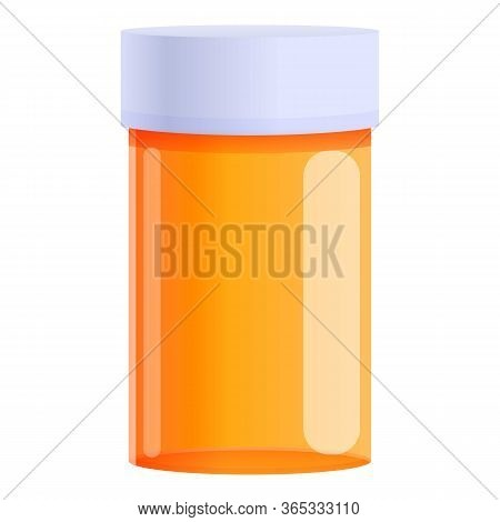 Pill Jar Icon. Cartoon Of Pill Jar Vector Icon For Web Design Isolated On White Background