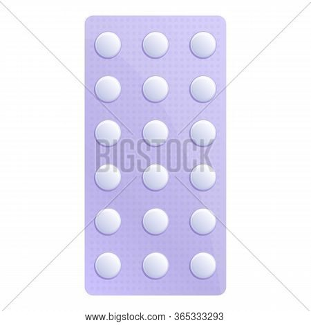 Medical Pill Blister Icon. Cartoon Of Medical Pill Blister Vector Icon For Web Design Isolated On Wh
