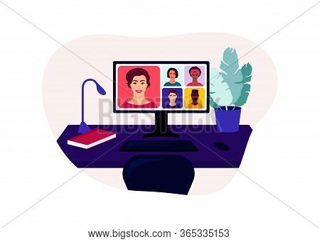 The Student Received A New Lesson From The Teacher. Learn Online Using Your Computer. Distance Learn