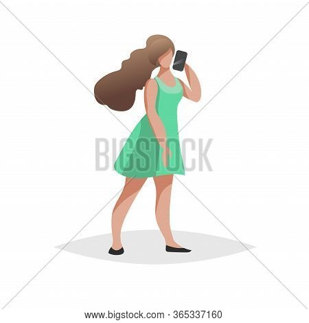 Happy Young Woman With Long Brown Hair Stand And Talking Phone. Flat Modern Trendy Design Style. Urb