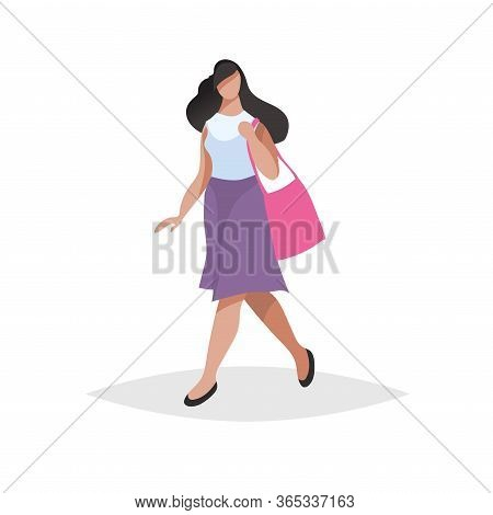 Happy Young Woman With Long Black Hair Walking And Shopping. Flat Modern Trendy Design Style. Urban