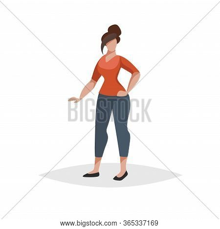 Young Woman Withstanding In Pose. Flat Modern Trendy Design Style. Urban Girl Drawing. Vector Illust