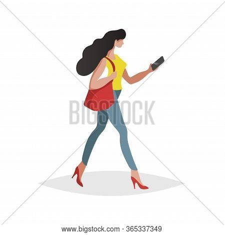 Happy Young Woman With Long Black Hair Walking And Looking Smartphone. Flat Modern Trendy Design Sty