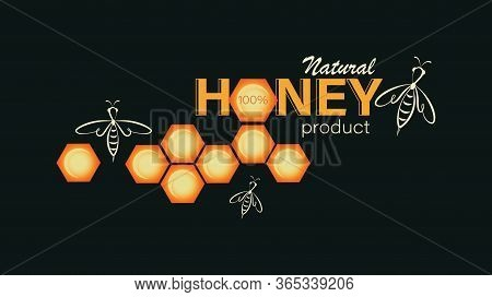 Swarm Bee, Honeycomb. Emblem, Label, Business Card. Linear Bee Logo, Honeycomb