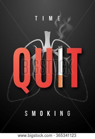Quit Smoking Placard With Realistic Cigarette. May 31 - World No Tobacco Day. No Smoking Day Awarene
