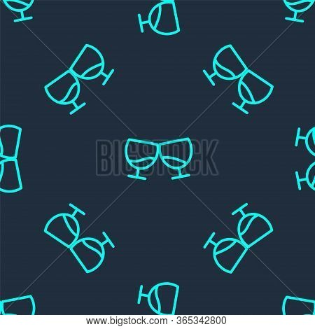Green Line Glass Of Cognac Or Brandy Icon Isolated Seamless Pattern On Blue Background. Vector Illus