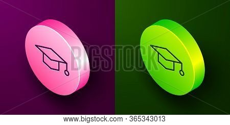 Isometric Line Graduation Cap Icon Isolated On Purple And Green Background. Graduation Hat With Tass