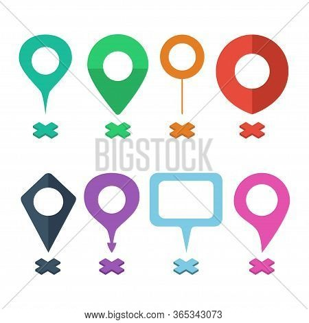 Set  Navigational Markers Of Different Shapes. Navigation Pins, Navigational Mark, Navigation Points