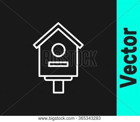 White Line Bird House Icon Isolated On Black Background. Nesting Box Birdhouse, Homemade Building Fo
