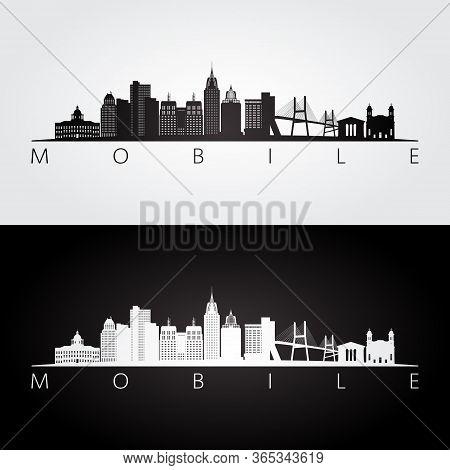 Mobile, Alabama Skyline And Landmarks Silhouette, Black And White Design, Vector Illustration.