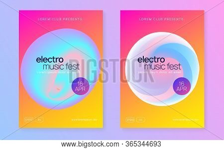 Music Fest Set. Fluid Holographic Gradient Shape And Line. Electronic Sound. Night Dance Lifestyle H