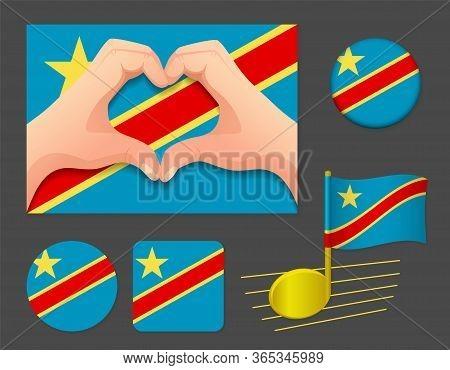 Democratic Republic Of The Congo Flag Icon.