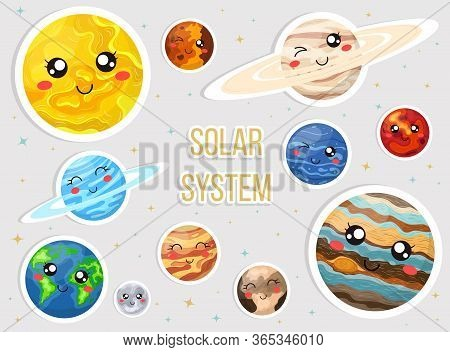 Solar System With Cute Cartoon Planets. Cute Planets With Funny Faces Sticker Set. Vecrtor Illustrat