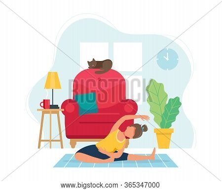 Stay Home Concept. Woman Doing Yoga In Cozy Modern Interior. Vector Illustration In Flat Style
