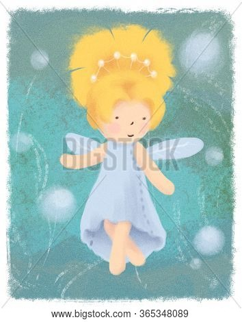Forest Fairy Greeting Card On Green Backdrop. Little Goldilocks Princess Magic Banner, Poster. Child