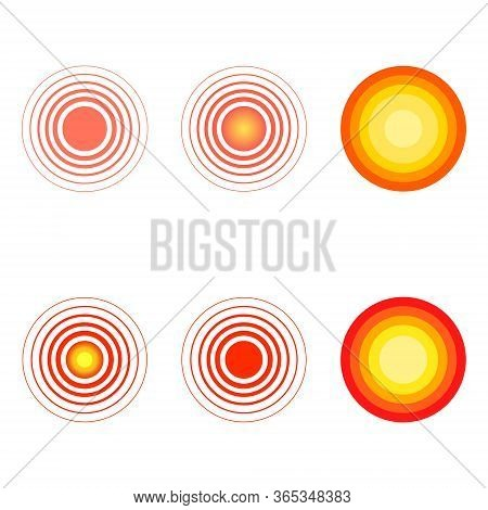 Pain Red Circles Set Vector Illustration. Localization Mark Collection.