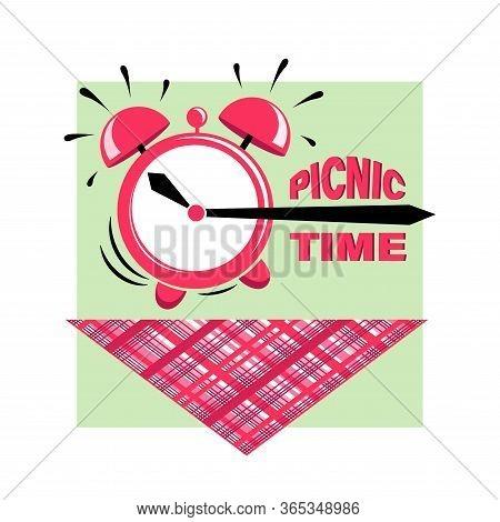 Picnic Time. Alarm Clock. Picnic At The Park. Bbq Time. Vector Illustration