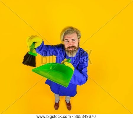 Cleaning. Broom. Bearded Man With Little Broom. Cleaning And Disinfection. Professional Cleaning. Cl